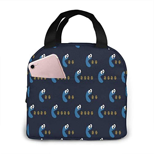 N\A Bolsa de Almuerzo portátil Cute Cookie Monster Bolsa de Almuerzo Refrigerador con Aislamiento Bolsa térmica Reutilizable Lonchera Bolsos para Mujeres/Picnic/Paseos en Bote/Playa/Pesca/Trabaj