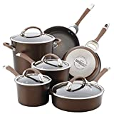 Circulon Symmetry Hard Anodized Aluminum Nonstick Cookware Set, 10-Piece Set, Chocolate