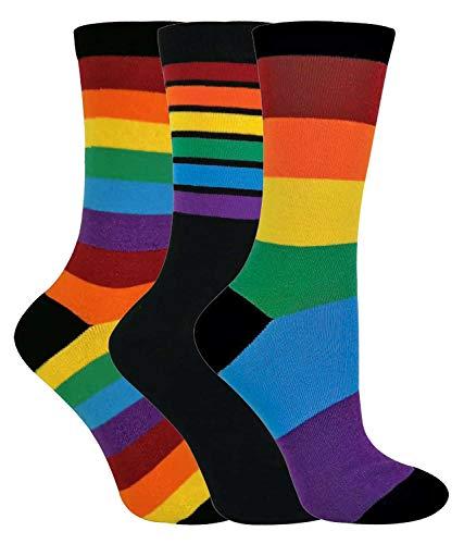 sock snob - 3er Pack Herren und Damen Baumwolle Bunt Streifen Regenbogen Socken (39/45, Rainbow)