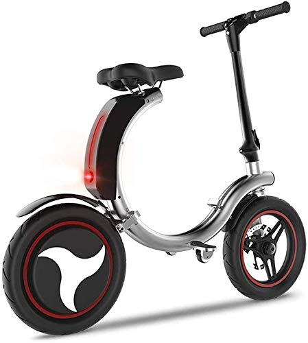 XINHUI Scooter eléctrico Plegable con Cubierta de luz LED, Tallo y 14'Ruedas, Scooter eléctrico portátil para Adulto Scooter de Dos Ruedas Mini batería de Litio