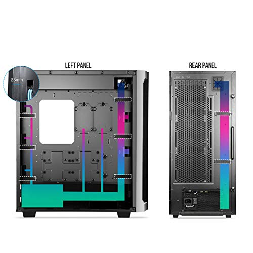 Segotep Phoenix T1 E-ATX Black Full-Tower PC Gaming Case, Tempered Glass Side Panel, Cable Management/Optional 360mm Water Cooling, Supports up to 7 Fans, Front I/O USB 3.0 Type-C Port, Desktop Case