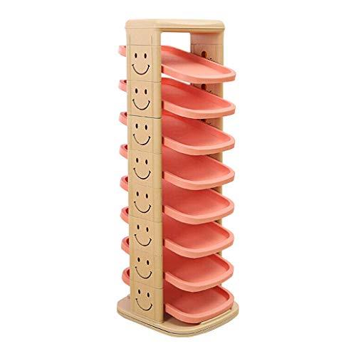 QNDDDD Estanterías de Zapatos Organizan Chicas Chicas Zapatillas Zapatillas 360 ° Rotativo Creativo Muebles Multifuncionales Plástico Pasillo Zapato Gabinete de Zapato Recoger Los Soldies,Naranja,8 C