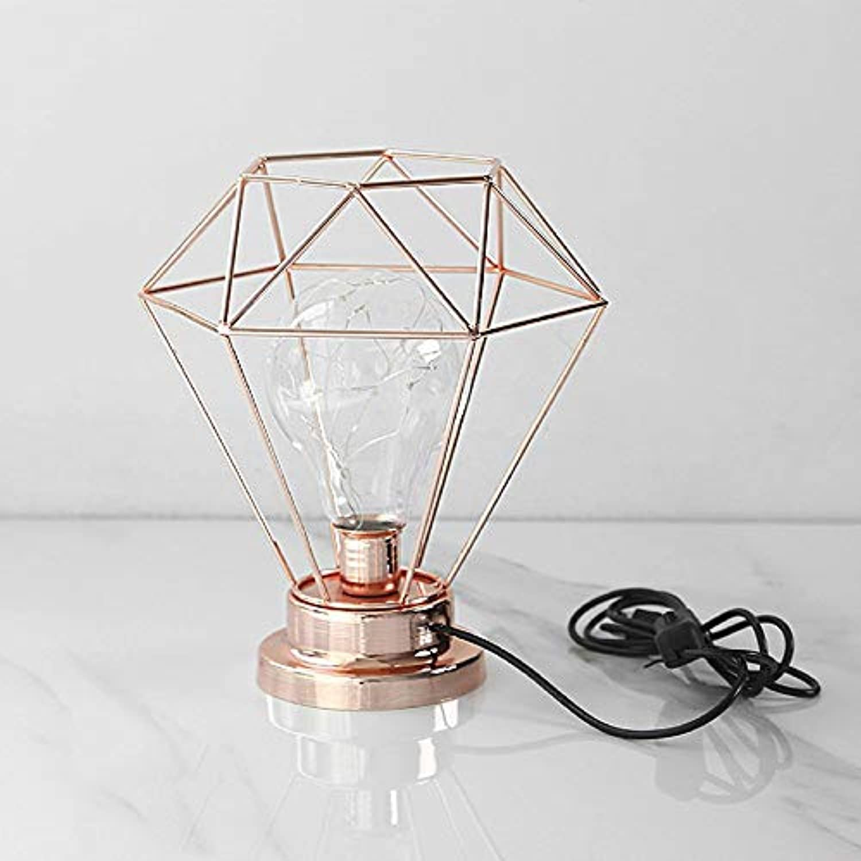 Xiao Fan   Eisenlampe Nachtlicht Kreative Wohnaccessoires Ornamente Nachttischlampe Speziell für Familienfreund Studie Kinderzimmer Bar Cafe Schreibtisch Lichter (Farbe  Gold, Gre  USB-Modelle)