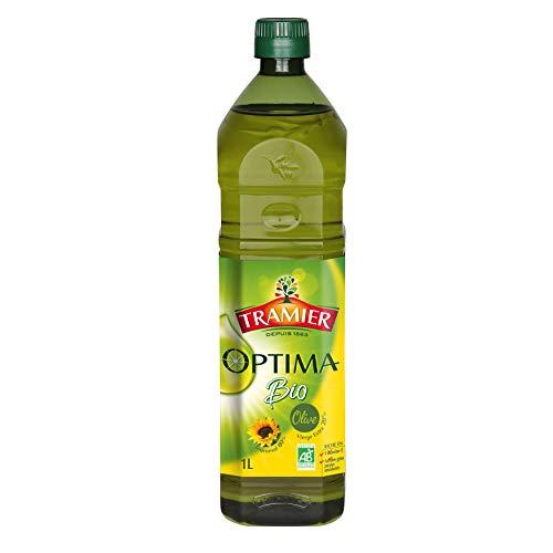 Tramier Mélange d'huiles Optima Bio (1 x 1 L), mélange d'huile d'olive vierge extra bio et d'huile de tournesol bio, bouteille d'huile riche en vitamines D et E