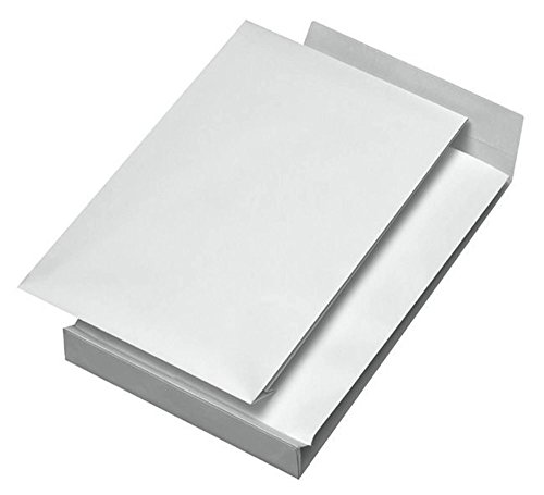 Elepa - rössler kuvert 30007072 Faltentaschen B4 ohne Fenster mit 40 mm-Falte und Klotzboden, 140 g/qm, 100 Stück, weiß