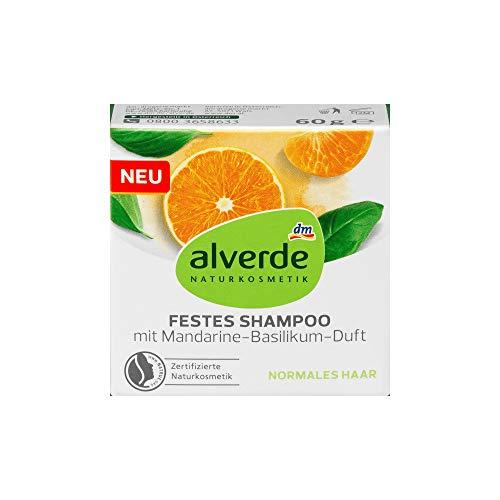 alverde NATURKOSMETIK festes Shampoo mit Mandarine-Basilikum, 1 x 60 g