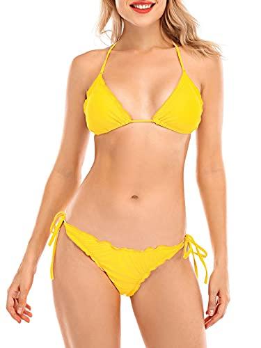CMTOP Costumi da Bagno Due Pezzi Imbottito Bandage Regolabile Halter Triangolo Top Bikini Mare Vita Bassa Perizoma Fondo Regolabile Bikini da Spiaggia Set Costume Donna Top Bikini Push up Effetto