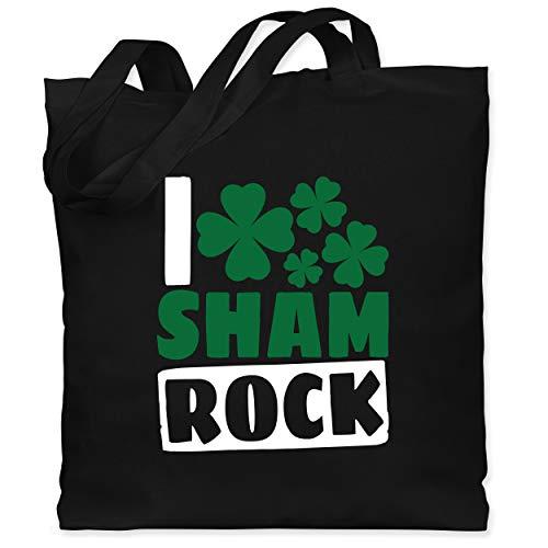 St. Patricks Day - I Sham Rock - weiß/grün - Unisize - Schwarz - Geschenk - WM101 - Stoffbeutel aus Baumwolle Jutebeutel lange Henkel