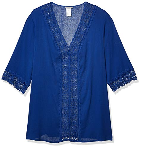La Blanca Women's V-Neck Lace Tunic Cover Up, Blueberry, S