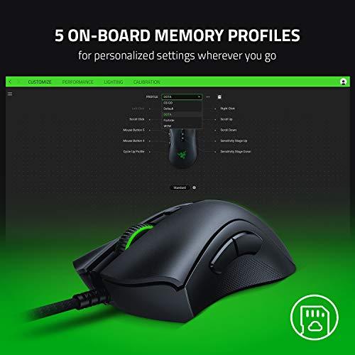 Razer DeathAdder V2 – Kabelgebundene USB Gaming Maus mit ergonomischen Komfort (Optische Switches, optischer Fokus+ 20K Sensor, Speedflex Kabel, integrierter Speicher) Schwarz - 6