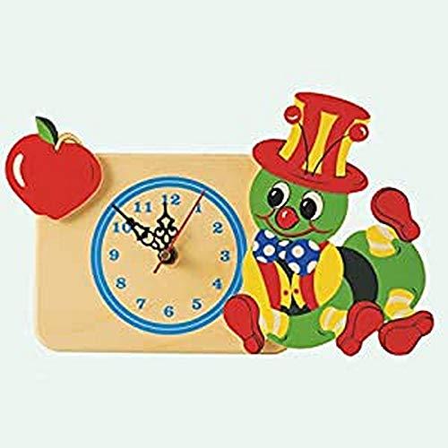 Dida - Horloge de Table en Bois Enfant – Pomme Chenille – Horloge Murale et de Table pour la Chambre des Enfants