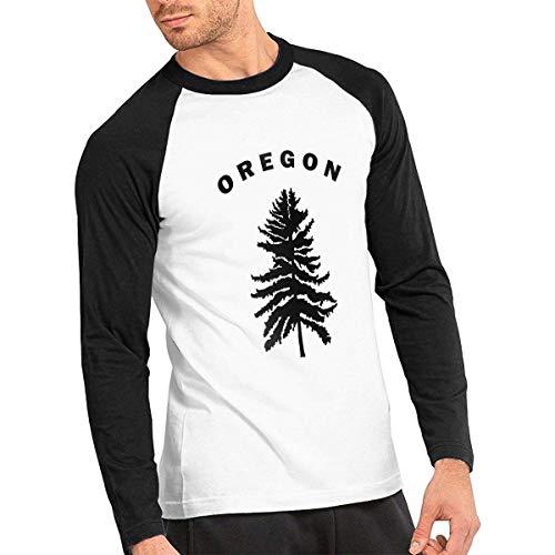 Baostic Herren Kurzarmshirt Oregon Douglas Pine Tree Men's Baseball Tee Shirts Long-Sleeve Men's Raglan Tees