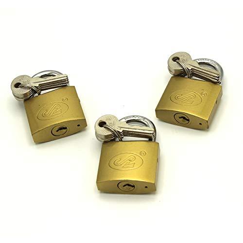 3 x Vorhängeschlösser 38 mm, massiv, gleichschließend, mit 18 Schlüsseln