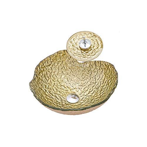 HNBMC - Lavabo sobre encimera de Cristal Templado para baño, Color Amarillo