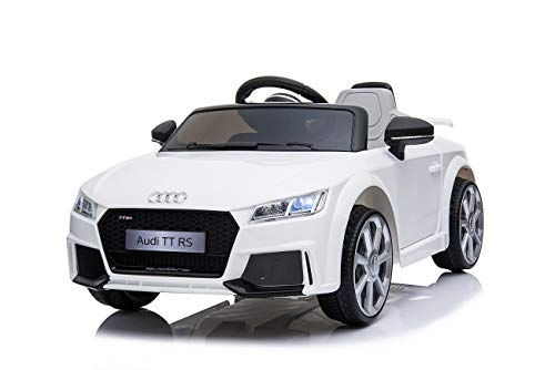Toyas Lizenz Audi TT RS Kinder Elektrofahrzeug Kinderfahrzeug Kinderauto Elektroauto 2X 30W Motor Weiß