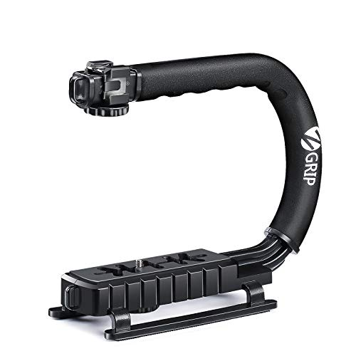 Zeadio Tripel Zubehörschuh Handheld Stabilisator, Video Aktion Handgriff Griff für Canon Nikon Sony Panasonic Pentax Olympus DSLR Kamera Camcorder DV