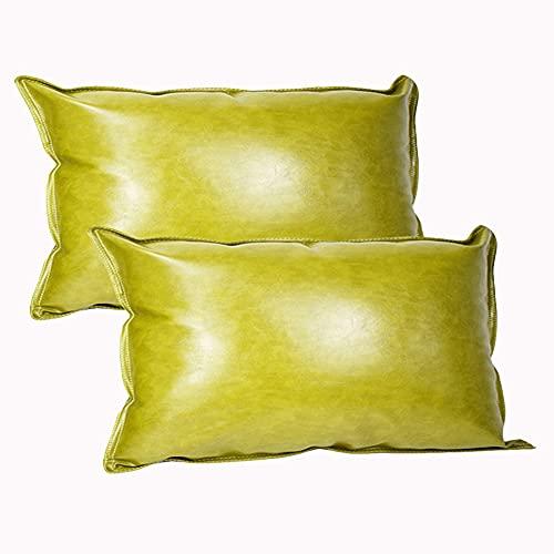 KYJSW Juego de 2 fundas de cojín de piel sintética, cuadradas y rectangulares, fundas de cojín para sofá, cama, coche, color amarillo, verde, 30 x 50 cm (1+1)