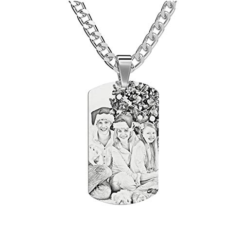 Personalized Full Color Necklace Custom Dog Tag Picture Necklace Carving Necklace Stainless Steel Necklace Gift for Mom(Titanium steel 22)