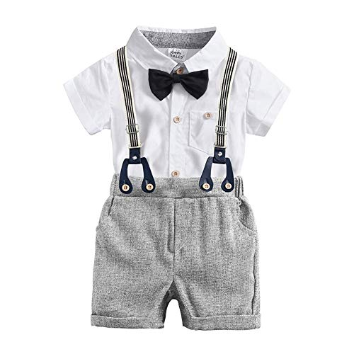 Infant Baby Boys Gentleman Wedding Formal Tuxedo Outfits 1st Birthday Cake Smash Short Sleev Bow Tie Shirt Romper Jumpsuit Y Back Suspender Shorts Christmas Baptism Party Suits Y-Gray 12-18 Months