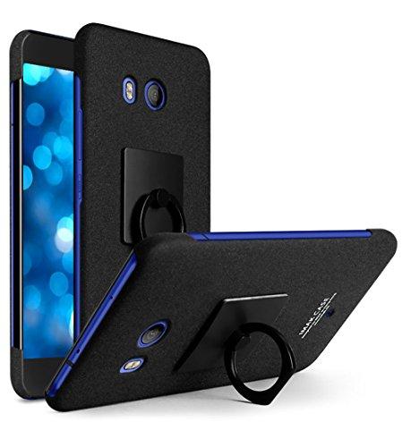 【M&Y】HTC U11 ケース 背面ケース 全面保護 HTC U11背面ケース リングスタンド付き HTC U11 カバー「全2色」MY-U11-IM-70620 (ブラック)