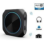 Zoweetek Bluetooth 4.1 transmisor / Receptor AptX Baja latencia 2-en-1 y Inalámbrica A2DP Bluetooth Transmisor Audio Estéreor(conexión 3.5mm)