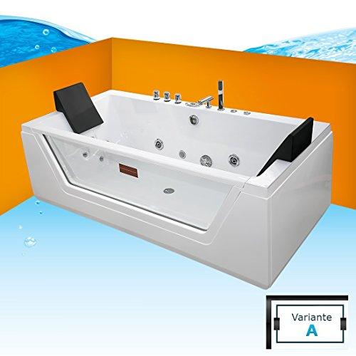AcquaVapore Whirlpool Pool Badewanne Wanne A1813NA mit Reinigungsfunktion 90x185, Selfclean:aktive Schlauch-Reinigung +70.-EUR