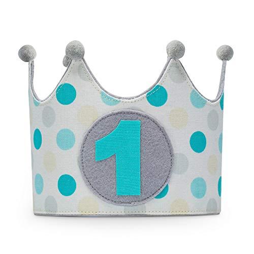 Kembilove Corona Primer Cumpleaños para Bebe – Corona Infantil de tela para Primer Cumpleaños – Corona Primer Cumpleaños para Niño y Niña Smash cake para sesión fotográfica de Lunares Mint y Gris