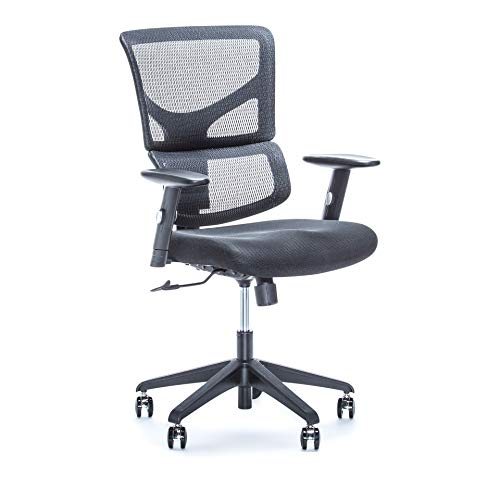 X-Chair Executive Office Desk Task Chair (X-Basic-Black) Ergonomic Lumbar Support, Heavy Duty Rolling Wheels - Breathable Mesh Cushion - Adjustable Arms, Drafting, Gaming, Computer.