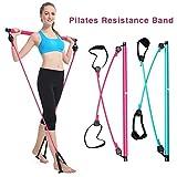 Kit de barre de Pilates avec bande de résistance, barre de Pilates d'exercice de yoga portable avec boucle de pied, barre de tonification de bâton de Pilates de Yoga pour la forme physique d'entraînem