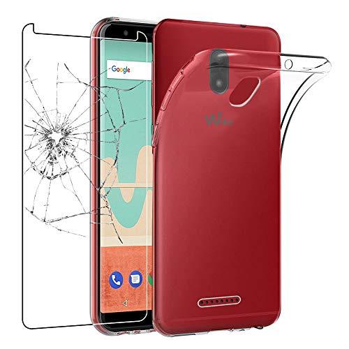 ebestStar - kompatibel mit Wiko View Go Hülle Handyhülle [Ultra Dünn], Durchsichtige Klar Flex Silikon Schutzhülle, Transparent + Panzerglas Schutzfolie [Phone: 152.5 x 72.6 x 8.3mm, 5.7'']