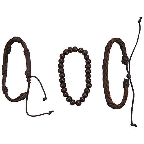 Gesh Pulsera multicapa para hombre, estilo casual, de piel, trenzado, para mujer, pulsera de cuentas de madera, pulsera punk, joyería de hombre, color marrón oscuro