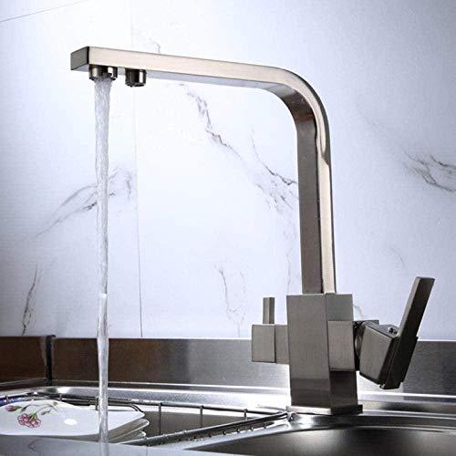 Grifo de cocina Filtro Grifos de cocina Latón cromado Grifos de cocina de rotación 360 con función de purificación de agua Grifos mezcladores de fregadero de cocina