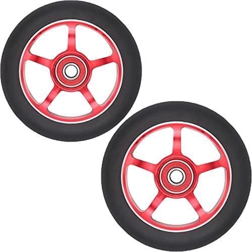 Ruedas de scooter de 100 mm - Ruedas de scooter profesional - Se adapta a la mayoría de las ruedas de repuesto de scooter de truco de acrobacias con rodamiento ABEC-9 - 24 mm x 100 mm,Black pu/red