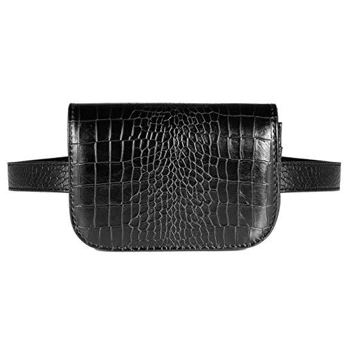 GOODFORALL Gürteltasche Damen Bauchtasche Hüfttaschen für Frauen(A Black)