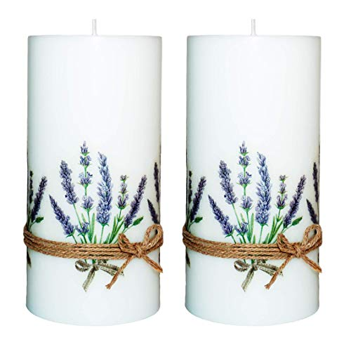 Lavender Print Pillar Hand Crafted Decoupage Candles Set of 2-3x6 inch Unscented Scented 100 Hours Indoor Outdoor decoration