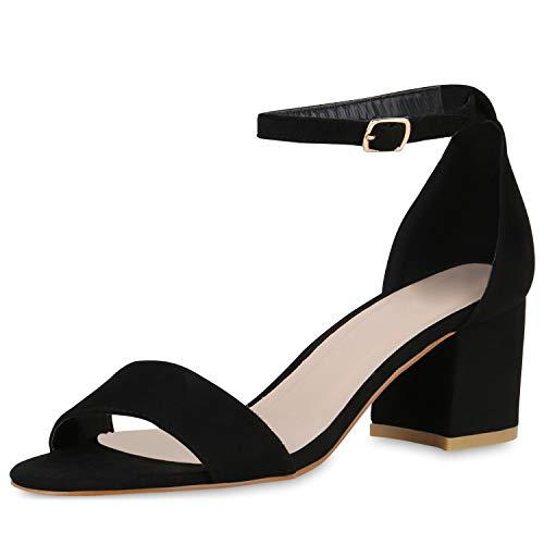 SCARPE VITA Klassische Damen Sandaletten Basic Wildleder-Optik Sommer Schuhe Blockabsatz Riemchensandaletten Absatzschuhe 176299 Schwarz Black Total 38