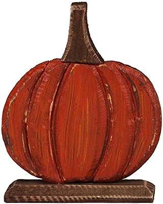 Jack-O-Lantern Antique Pumpkin Orange 8 inch Cedar Wood Harvest Figurine