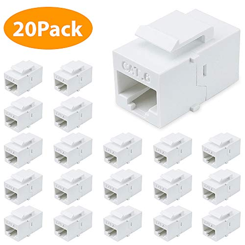 Cat6 Keystone Jack, 20Pack Female to Female RJ45 Couplers Compatible with Cat7/6/6e/5/5e Ethernet Devices -White