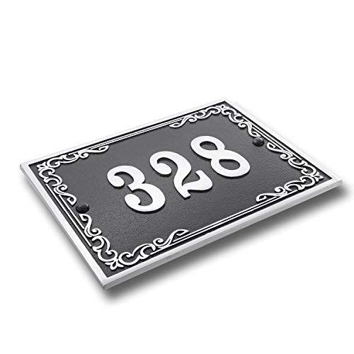 House Number Address Plaque Vintage Style. Cast Metal Personalised Yard Or Mailbox Sign In Black With Oodles Of Number And Letter Options. Handmade In England By The Metal Foundry Just For You