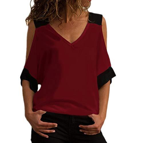Damen New Contrast Design V-Ausschnitt Kurzarm Hohl Loose XL T-Shirt