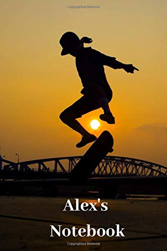 Alex's Notebook: Personalised Skateboard Cover Notebook | 160 Ruled Pages | 6x9 Journal | Paperback Diary | Glossy Finish