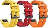 Classicase Correa de Reloj Recambios Correa Relojes Caucho Compatible con Garmin Fenix 6X Pro/Fenix 6X Sapphire/Fenix 3 / Fenix 5X Plus/5X Sapphire - Silicona Correa Reloj con Hebilla (3-Pack J)