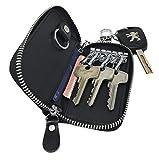 Su.B.dgn Genuine Leather Key Case Key Holder - 6 hooks, 2 Long Car Key Chain, 2 Cards Notes Wallet - Black