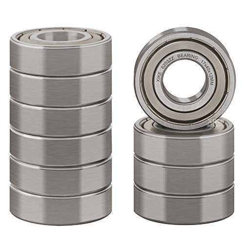 XiKe 10 Pcs 6203ZZ Double Metal Seal Bearings 17x40x12mm, Pre-Lubricated and Stable Performance and Cost Effective, Deep Groove Ball Bearings.