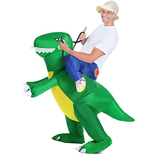 Inflatable Dinosaur Halloween Costumes – Funny Boys Halloween Costumes,Cosplay Party Dress Up,Dinosaur Costume for Kids and Adults from 5'3 to 6'2(160cm to 190cm)