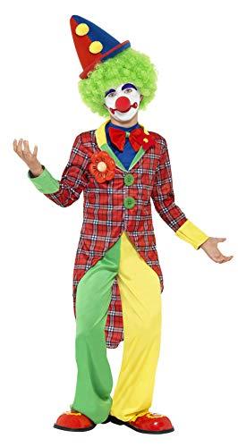 Smiffys Costume de clown, rouge et vert, avec veste, pantalon et fausse chemise avec nœu