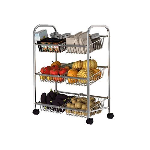 &étagère de rangement Rangement des ménages Étagère de cuisine Légumes Fruits Étagère de rangement mobile Étagère à plancher multicouche Petit chariot Rack de finition (Color : C)