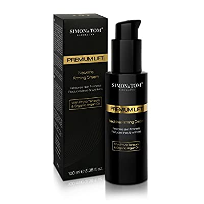 Simon & Tom Premium Lift Neckline Firming Cream, Firms & Lifts Sagging Skin on Neck and Décolleté with Argan Oil & Firming Phyto-Tensors, Smooths Fine Lines & Wrinkles, 100 ml.