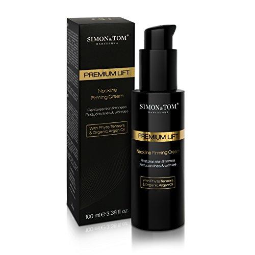 SIMON & TOM Premium LIFT Neckline Firming Cream - Straffende Hals -Feuchtigkeitscreme - Sofortige LIFTING-WIRKUNG - Langfristig glattere Haut - Mit PHYTO-Sensoren und BIO-Arganöl - Vegan / 100ml.