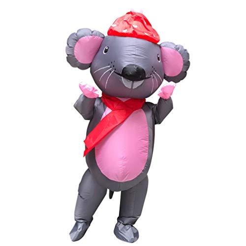 Amosfun Erwachsene Maus Kostüm Lustige Aufblasbare Kostüm Tier Explosion Anzug Maus Kostüm Zubehör für Party Performance Karneval Kostüm